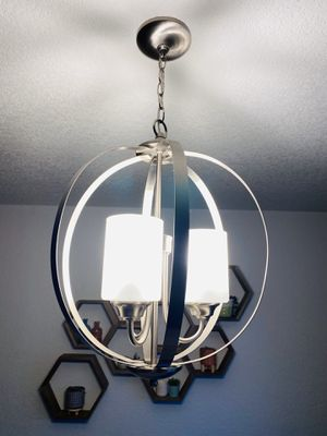 Three bulb brush nickel chandelier for Sale in Tacoma, WA
