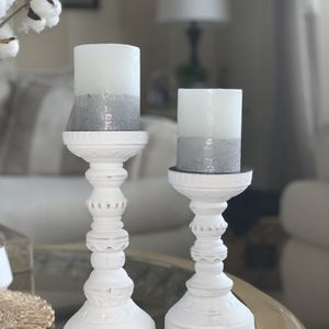 White Candle Holders With Candles for Sale in Auburn, WA