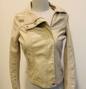 Suzy Shier Fauz Leather Jacket XS-S BEIGE HOT PINK CHIC SEXY FOR GOING OUT! for Sale in Irvine, CA