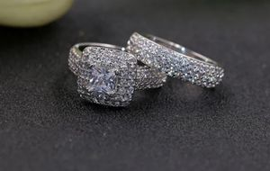 S925 Sterling Silver VVS1 Lab Diamond 2pcs Wedding Ring Set Size 6,7,8 for Sale in Silver Spring, MD