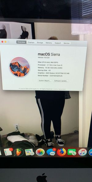Apple iMac 21.5 Inch 16 GB RAM (Mid 2011 Keyboard & Wireless Mouse) for Sale in District Heights, MD