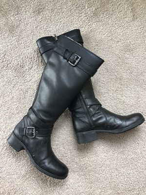 Franco Sarto black leather high riding boots, size 6 for Sale in Mercer Island, WA