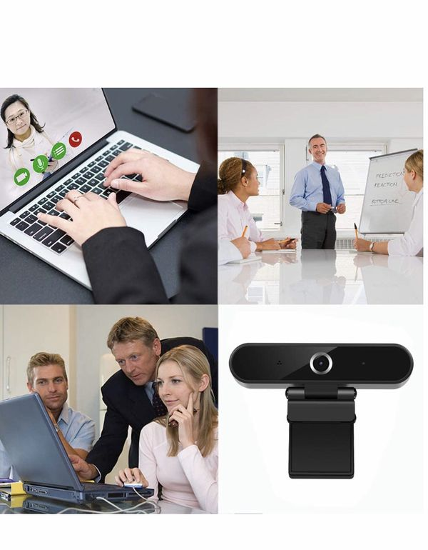 Webcam with Microphone, HD 1080P Webcam with Privacy Cover and Tripod, USB Computer Camera with Wide View Angle, PC Desktop Webcam for Video Calling