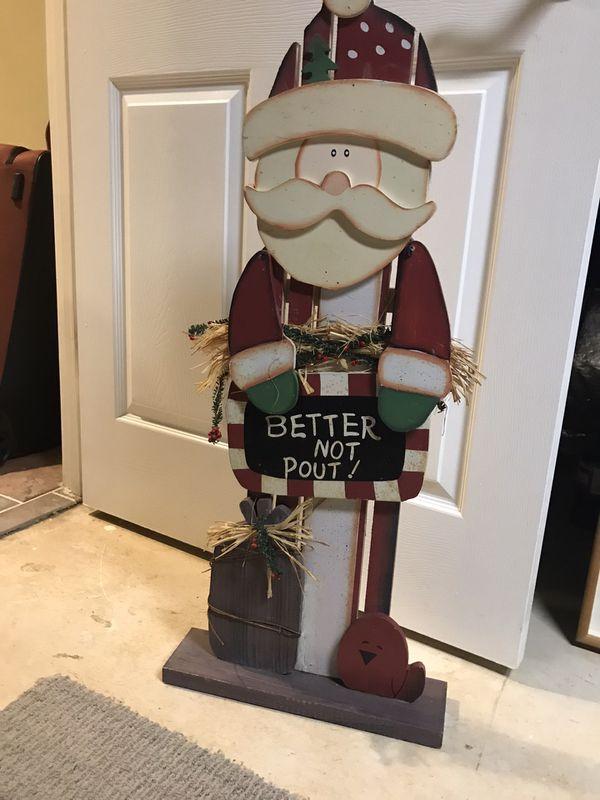 Solid wood standing Santa