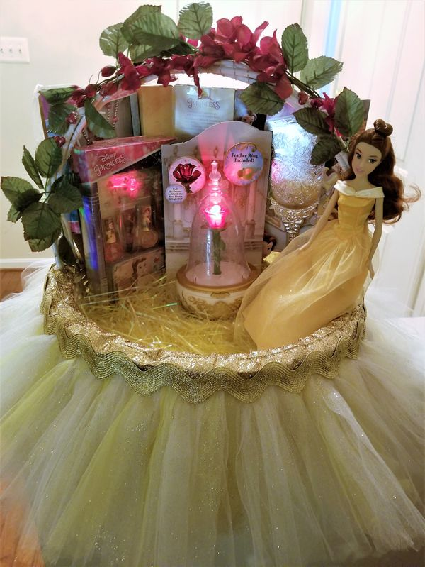 Belle - Beauty & The Beast Gift Basket - Handmade Light Yellow and Gold Tulle