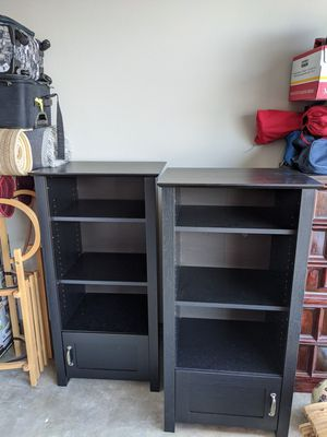 mainstay media storage bookcase tower multimedia organizer shelf cabinet (3-shelf with drawer) for Sale in Portland, OR