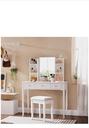 Vanity Set, Dressing Table Set with Mirror, Open Shelves, Large Table Top, 3 Drawers, 1 Drawer Divider, Cushioned Stool, Solid Wood Legs, for Bedroom for Sale in Corona, CA