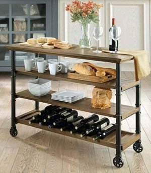 Whalen Santa Fe Industrial Style Kitchen Cart with large open shelves and an optional wine rack for Sale in Houston, TX