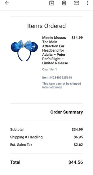 Minnie Mouse Ear Headband- Peter Plan Flight Limited Edition Preorder for Sale in Wichita, KS