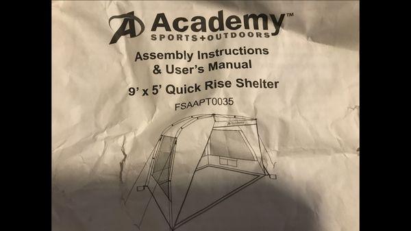 Academy Sports Brand Shade Sports Tent. 9'x5'