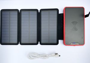 22000mAh Wireless Portable Solar Charger, External Backup Battery, 3 Output Ports, 4 LED Flashlights, Carabiner, IP54 Rainproof for Camping, Outdoor for Sale in Carson, CA