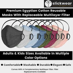 Premium 100% Egyptian Cotton Reusable Face Mask With Replaceable Multilayer Filter - Made In USA for Sale in Fullerton, CA