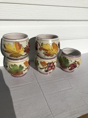 Five small ceramic hand painted flower pots cups planters for Sale in San Mateo, CA