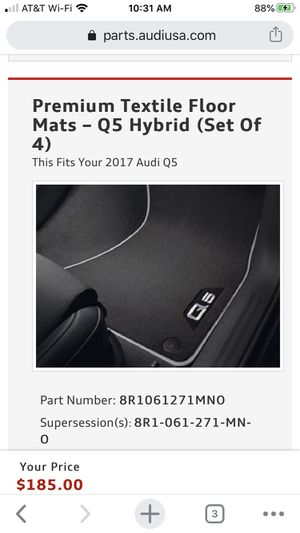Audi Q5 Premium Textile Floor Mats – Q5 Hybrid (Set Of 4) for Sale in Cypress, TX