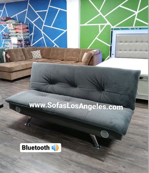 Grey Pillow Top Couch Sofa Futon Bed With Bluetooth Speakers for Sale in Los Angeles, CA