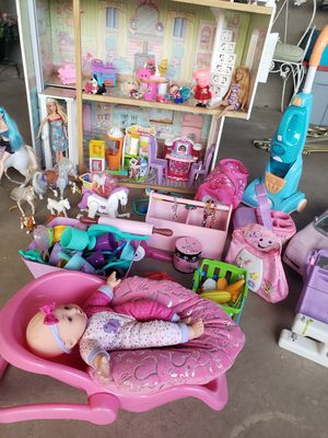 Barbie doll house, 9 barbies with clothes, set of 8 horses, set of shopkins , corvet, accessories, doctor kit for dog, furniture and more for Sale in Henderson, NV