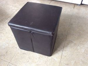 Square folding faux leather ottoman for Sale in Cambridge, MA