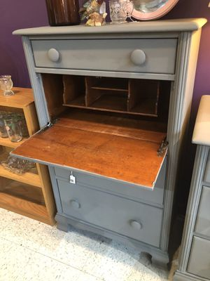 Maple dresser painted grey with desk nook for Sale in Frederick, MD