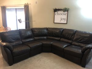 Dark Brown Leather Sectional NEED OUT BY TODAY for Sale in TEMPLE TERR, FL