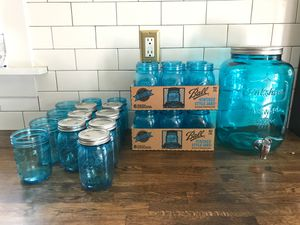 Teal Ball jars and matching 3 gallon dispenser for Sale in Portland, OR