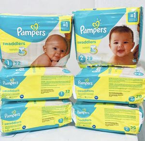 6 packs Pampers Swaddler Diapers Size 1 & 2 for Sale in Arlington, TX