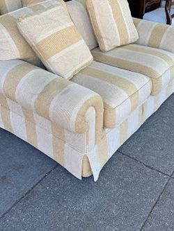 """#104123, #104124 Corn Yellow + Cream Striped Loveseat (we have 2) 57.5"""" L x 35"""" D x 29"""" H for Sale in Alameda,  CA"""