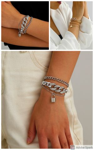 European Style Multilayer Pendant Crystal Chunky Chian Bracelet, Gold and Silver Color for Sale in Los Angeles, CA