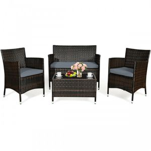 4 Pcs Patio Rattan Conversation Set Outdoor Wicker Furniture Set -Grey Cushion for Sale in Los Angeles, CA