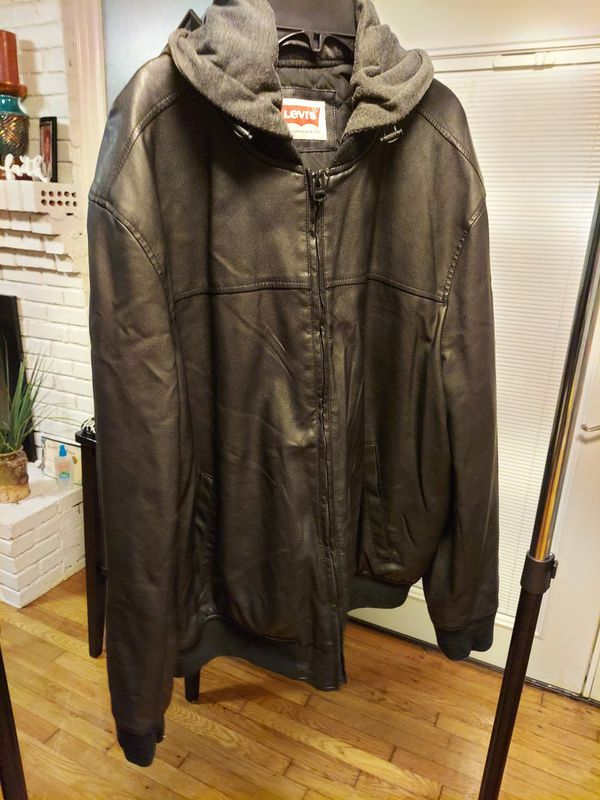 LEVIS LEATHER HOODIE JACKET/sz XL/PKUP OR SHIPPING AVAILABLE