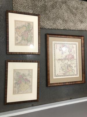 Set of framed maps for Sale in Fairway, KS