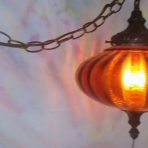 Vintage UFO Amber Glass Swag Lamp / Light for Sale in Wathena, KS