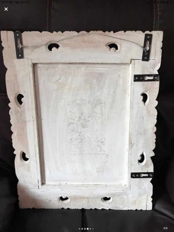 "White wooden framed wall mirror 19""x 15"""
