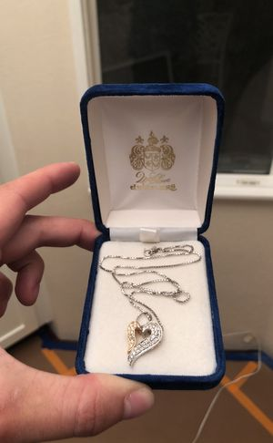 14K White / Yellow Gold REAL DIAMONDS Pendant and Chain- $600 for Sale in Hidden Hills, CA