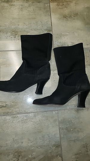Nickels Italy made in Italy black block heeled pointed toe soft velvet bootheel size 10B for Sale in Scottsdale, AZ