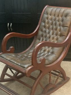 Wood Leather Brown Rocking Chair for Sale in Covina,  CA