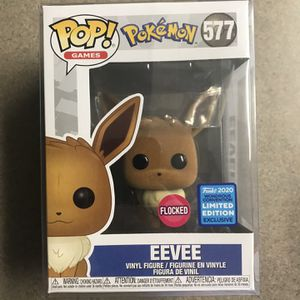 Flocked Eevee Funko Pop *MINT* Pokémon 2020 WonderCon Convention Exclusive 577 with protector Pokemon for Sale in Lewisville, TX