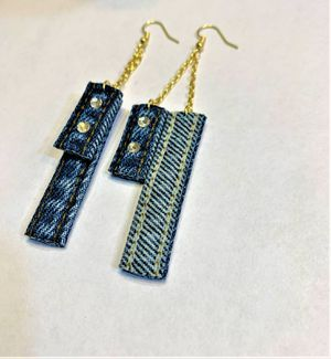 Chained Denim Dangle Earring with Swavorski crystals for Sale in Peoria, IL