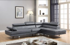 Grey chrome modern right chaise sectional sofa for Sale in Hollywood, FL