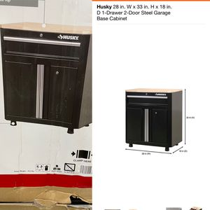 Husky 28 in. W x 33 in. H x 18 in. D 1-Drawer 2-Door Steel Garage Base Cabinet for Sale in Los Angeles, CA