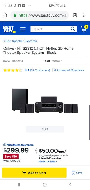 Onkyo - HT S3910 5.1-Ch. Hi-Res 3D Home Theater Speaker System for Sale in North Attleborough, MA