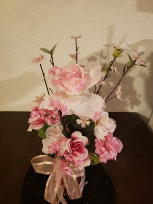 Artificial flower arrangement. Pink and white in a rose gold glitter mason jar rose gold bow. for Sale in Hesperia, CA