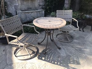 3 piece outdoor Patio set with Swiveling Chairs for Sale in Upland, CA
