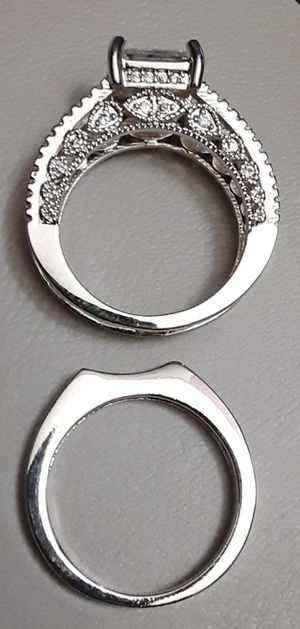 Interchangeable Sterling Silver White Sapphire Ring Set Size 8 Stamped for Sale in Union, WA