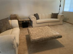 Off white cloth sofa & matching loveseat with unique coffee table. Total $400 OBO for Sale in Fort McDowell, AZ
