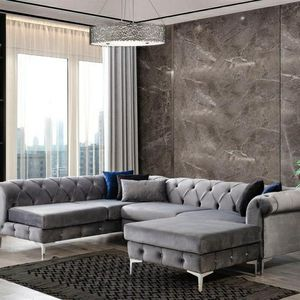 🔷🔷 FREE DELIVERY 🔷🔷🚛SAME DAY DELIVERY🚛🎁[SPECIAL] Lexi Gray Velvet LAF Sectional with Ottoman🎁💲39 DOWN ONLY💲 for Sale in Houston, TX