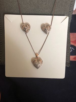 1/10 CT T.W. Genuine White Diamond 14K Rose Gold Over Sterling Silver Heart Necklace and Earrings for Sale in Country Club Hills, IL