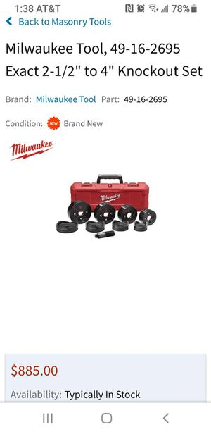 "Milwaukee Tool, 49-16-2695 Exact 2-1/2"" to 4"" Knockout Set for Sale in Riverside, CA"