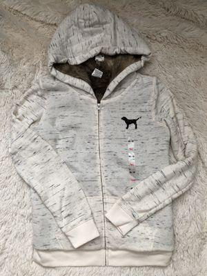 Victoria's Secret PINK faux fur lined coat jacket hoodie sequin bling super rare new for Sale in Cedar Park, TX