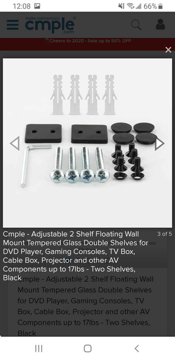 BRAND NEW BLACK FLOATING GLASS WALL MOUNT CABLE BOX/ GAME CONSOLE SHELVES
