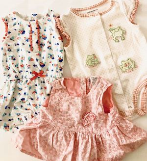 🍭More than 300 Baby girl clothes Newborn 0 3 6 9 months preemie onesies footed pajamas sweater dress sweater jackets hats socks bibs pants for Sale in San Diego, CA